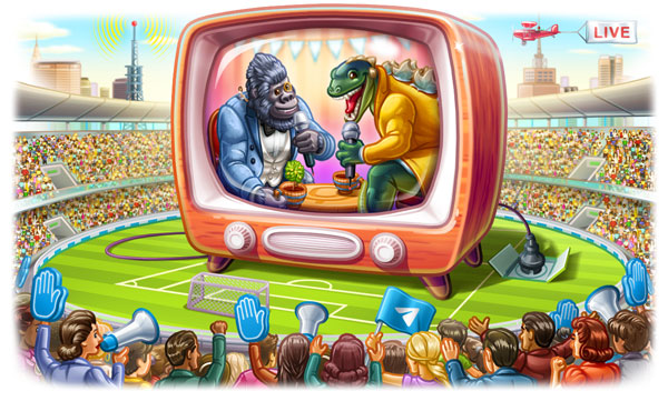 Transmisje na żywo, elastyczne przekazywanie, przeskakiwanie do następnego kanału i popularne naklejki