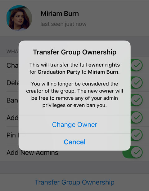 Transfer group ownership