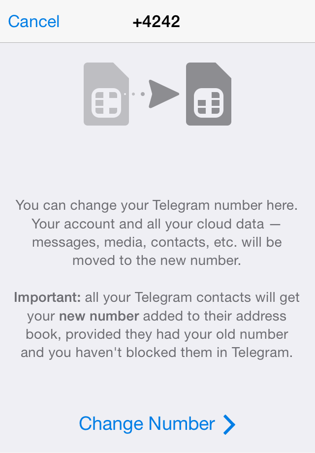 telegram me changing numbers and pfs