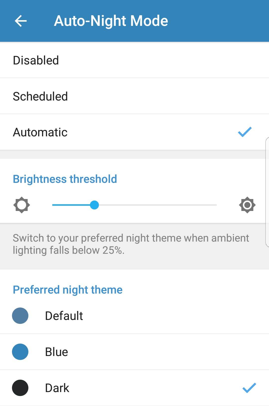 Streaming and Auto-Night Mode on Android
