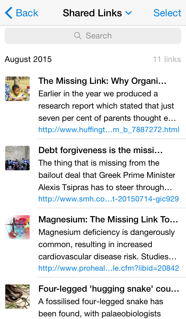 Shared Links and Recent Searches