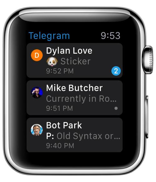 Telegram para Apple Watch - Listado de chats