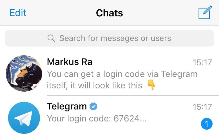 Login via Telegram