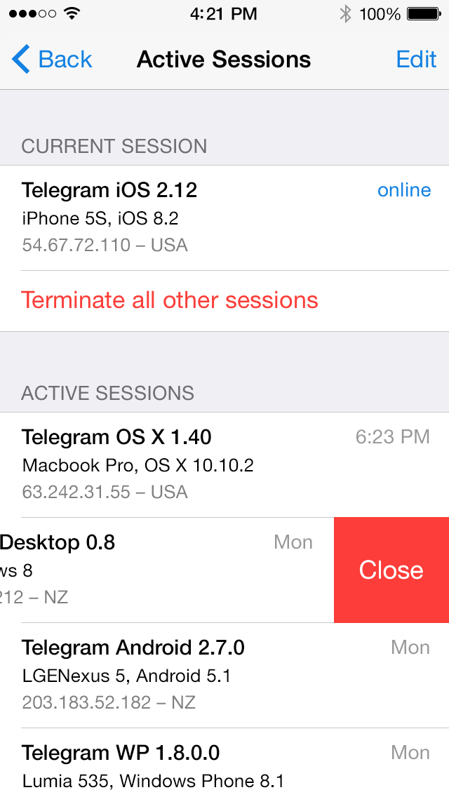 Active Sessions and Two-Step Verification